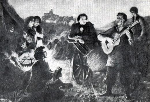 Пушкин в цыганском таборе. С картины художника Б. И. Лебедева.