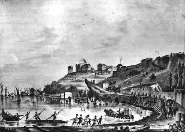 Одесса. Купальный берег. Литография на почтовой бумаге. 1830-е гг.