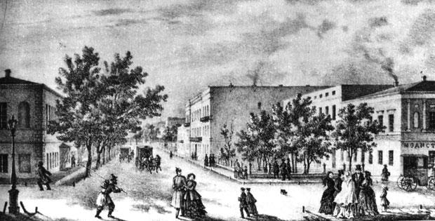 Одесса. Ришельевский лицей. Литография на почтовой бумаге. 1830-е гг.
