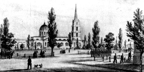 Одесса. Кафедральный собор. Литография на почтовой бумаге. 1830-е гг.