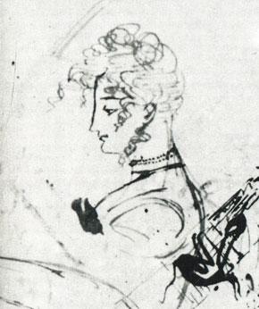 Каролина Собанъская(?). Рисунок А. С. Пушкина